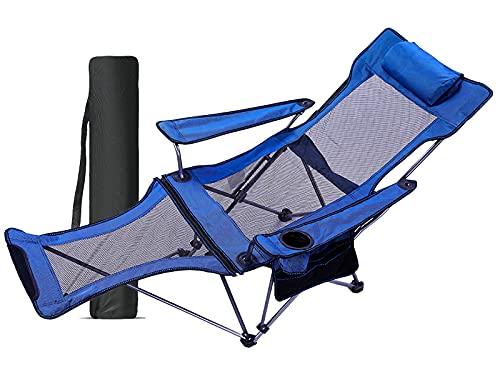 アウトドアチェア 折りたたみ リクライニングチェア キャンプ 角度調整 耐荷重130kg 枕/カップホルダー/収納バッグ付き 持ち運び便利 室内/アウトドア用 お釣り 登山 (Blue)