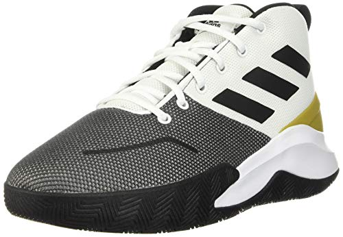 Adidas Men's Ownthegame Running Shoe, White/Black/Gold Metallic, Numeric_14
