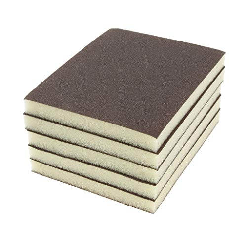 DOLITY Esponja abrasiva, 5 unidades, color gris, espuma abrasiva, 80 agarres, 2 lados, revestimiento de grano de lijado