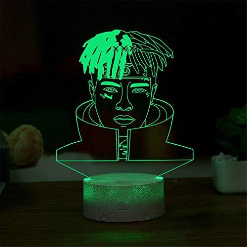 Lámpara 3D de ilusión óptica, luz nocturna famosa cantante rapero niños luz nocturna cumpleaños regalos de Navidad para niños niñas adultos hogar bar decoración