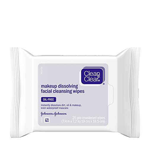 Clean & Clear Oil-Free Makeup Dissolving Facial Cleansing Wipes to Remove Dirt, Oil, Makeup &...