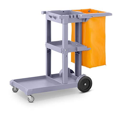 Ulsonix Carro De Fregar Con Bolsa Carrito Limpieza UNICLEAN 5 (Fabricado En Plástico, Con 3 Superficies De Almacenamiento, Ruedas Delanteras Pivotantes 360°)