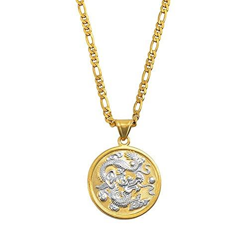 Collares Collares de cadena con colgante de dragón auspicioso, collares de mujer y hombre, adornos de joyería de Color dorado, mascota, regalos de la suerte, 60 cm por 3 mm