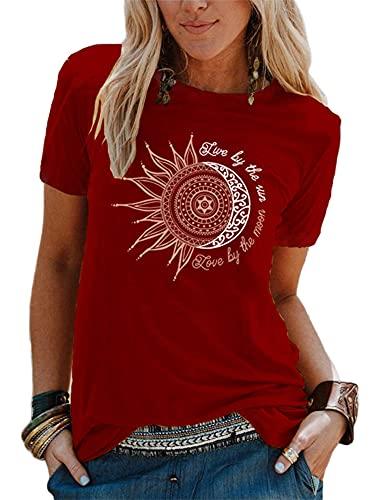 Abtel Sommer Damen T-Shirt Sunflower Print Muster Kurzarm Rundhalsausschnitt Basic Kurzarm Lose Damen Rundhals Casual Top M 1# weinrot