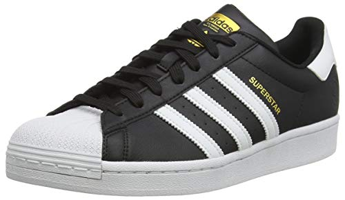 adidas Originals Mens Superstar Vegan Sneaker, Core Black/Footwear White/Gold Metallic,44 EU
