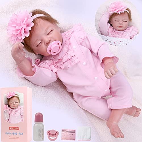 ZIYIUI Reborn 22 Pulgadas de Silicona Suave Reborn Baby Doll Girl Real Life Sleeping 55cm recién Nacido Reborn bebés muñecas niño niña Juguetes de Regalo