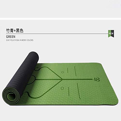 QZ 147258 TPE Eco Friendly Tappetino Yoga Linea Cuscino Postura Sudare-Assorbente Antiscivolo Yoga, Pilates e Ginnastica 183 x 61 x 0.6CM, Dimensione: 183x61x0.6CM, Colore: Verde