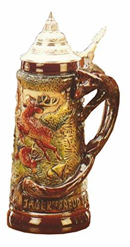 KING Jarra de Cerveza Alemana con asa de Zorro, Caza, Jarra 1 litro