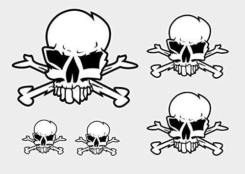 Aufkleber Totenkopf Set Skull Sticker Autoaufkleber Waschstrassenfest und UV-Beständig