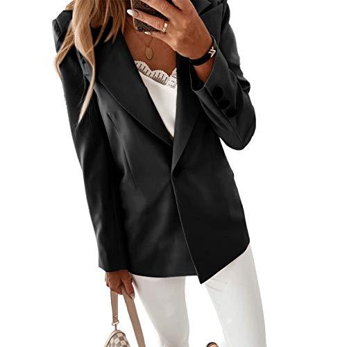 Blazer-Jacke, lang, Damen, langärmlig, tailliert, mit zwei Taschen, schickes Kostüm, Casual, Größe M-4XL Gr. L, Schwarz B