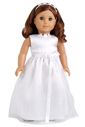 My First Communion - White Satin Communion / Wedding Dress with Matching Headband and White Leather Dress Shoes - Clothes Fits 18 Inch American Girl Doll (Doll Not Included)