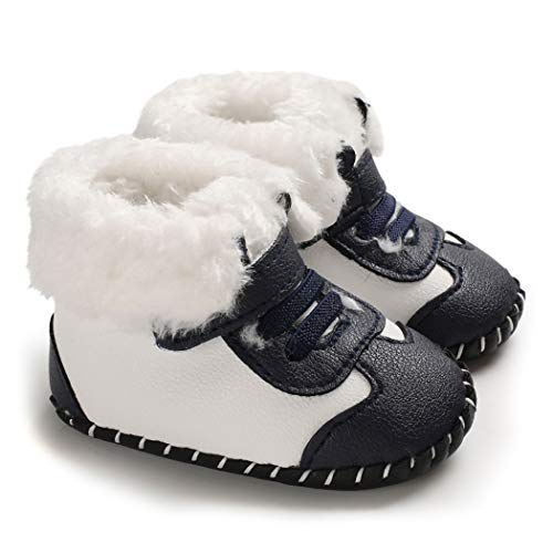 CINDEAR Infant Baby Boys Girls First Walker Shoes Suede Faux-Fur Lined Warm Winter Snow Boots for Newborn Crib Shoes 1014 Black 0-6 Months