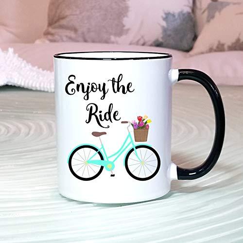 11 Ounces Coffee Mug, Enjoy The Ride Mug, Cute Bike Mug, Inspirational Beach Cruiser Mug, Bike Lover Gift, Bike Art, Fun Summer Mug, Mugs For Women, Good Vibes