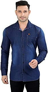 Private Image Meraki Solid Blue Single Pocket Denim Shirts