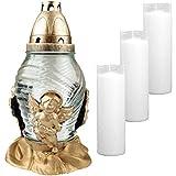 HS Candle Grablicht aus Glas Design: Engel (Weiß) inkl. 4 Nachfüllkerzen (24cm)