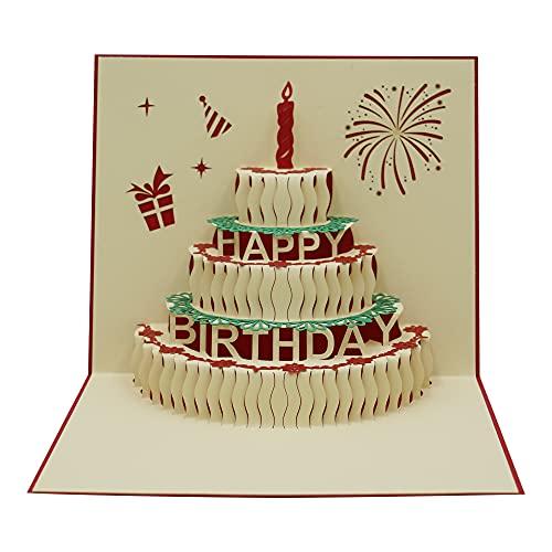 AIBAOBAO Tarjetas de felicitación Cumpleaños, Tarjeta de Felicitación 3D Pop-up San Valentín Creativa Emergente con Vela Rojo Sobre, para Familia, Amigo para Cumpleaño, Novias, Aniversario