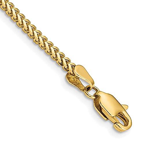 Diamond2Deal - Pulsera de cadena franco de oro amarillo de 14 quilates, 2 mm, para hombre y mujer