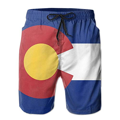 Jiger Flag of Colorado Mens Quick Dry Swim Trunks Athletic Beach Board Shorts PantsM