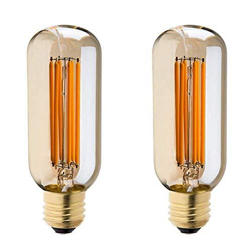 Bombilla De Filamento LED T45 De 6W, Bombilla Estilo Edison Retro, 220-240V, E27, 2700K, Bombilla LED Blanca Cálida De 6W, Bombilla Incandescente De 50W (2 Paquetes)