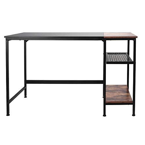 Computertisch mit 2 Ablagefächern, Büro, für Laptop, Arbeitsstation, Rahmen aus robustem Stahl, Arbeitstisch, Schreibtisch, Studententisch, für Haus, 120 x 60 x 75 cm