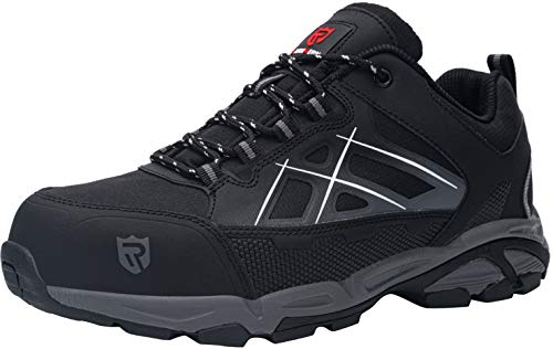 LARNMERN Workshift Shoes for Men,Breathable Comfortable Footwear Steel Toe Shoes Lightweight Indestructible Anti-Slip Safety Shoes(Black LM-01,10.5)