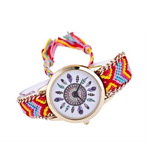 Xuxuou Reloj de pulsera de cuarzo, correa ajustable dorada, reloj con cuerda trenzada de colores, estilo bohemio para mujer