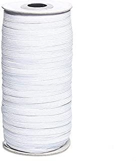 """White 1/4"""" Width 200-Yards Length Elastic Bands for Sewing Braided Elastic Cord/Elastic Band/Elastic Rope/Bungee/White Hea..."""