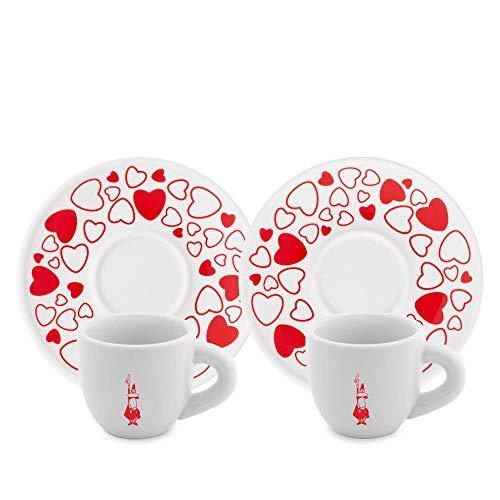 Bialetti Y0TZ021 Set 2 Tazzine Moka Cuore (con Piattini), Porcellana, Red/White