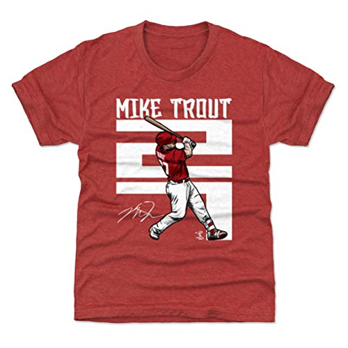 500 LEVEL Mike Trout Los Angeles Youth Shirt (Kids Shirt, Large (10-12Y), Tri Red) - Mike Trout Number W WHT