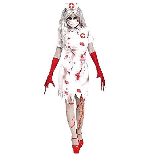 Yizc Vspera De Todos Los Santos Zombie Disfraz De Enfermera,Sangrienta Enfermera Vestido Horror Cosplay,Traje De Enfermera Incluye Vestido Tiene Guantes Y Sombreros-Enfermera sangrienta X-Large