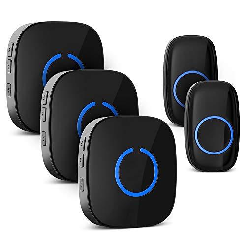 Campanello senza fili, impermeabile ELEPOWSTAR IP55 Wireless Doorbell, con azione 300, Indicatore LED, 58 Suonerie, 5 Volume per la casa/ufficio/giardino (3 ricevitori e 2 trasmettitori Nero)