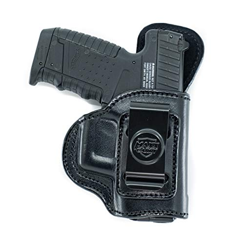 Inside The Waistband Leather Holster for Kahr P9 & K9. IWB Holster with Clip Conceal Carry. Black Right Hand.