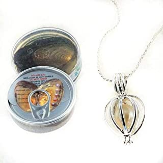 Love gift set natural pearl oyster (freshwater pearl) with silver necklace to put the love pear