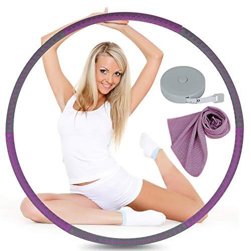 OOTO Hoola Hoop - Aro de fitness para adultos, 6 segmentos, ajustable de 1 a 4 kg, con toalla de enfriamiento, color azul