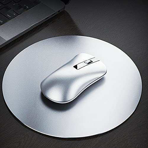 BIGFOX Tappetino Mouse,Doppio Lato(Alluminio e Gomma),Ultra Sottile 2MM Impermeabile, Mousepad con Base in Gomma Antiscivolo, Superficie Liscia, per Ufficio,PC,Mac,Laptop, Argento