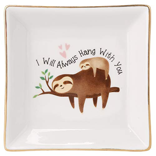 HOME SMILE Mom Birthday Gifts Sloth Ring Dish Holder Trinket Tray-I Will Always Hang with You