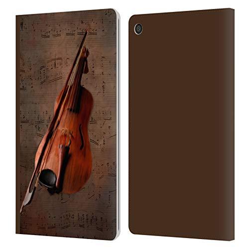 Head Case Designs Offizielle Simone Gatterwe Geige Vintage Und Steampunk Leder Brieftaschen Huelle kompatibel mit Amazon Fire HD 8