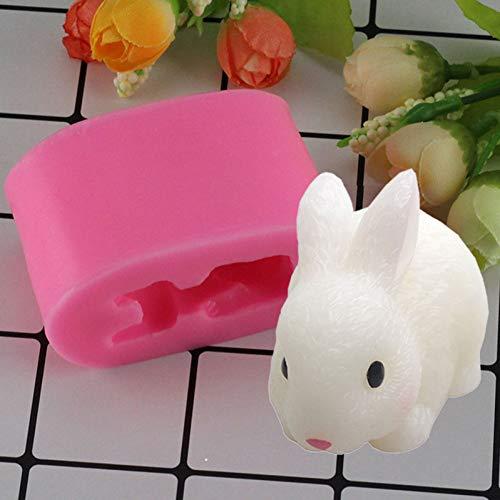 N /A 3D Osterhasen Silikonformen Kaninchen Kerze Harz TonformSüßigkeiten Form Fondant Kuchen Dekorationswerkzeuge