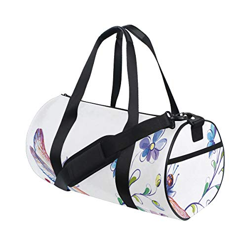 ZOMOY Gym Bag,Vintage Ivy Flowers Dragonflies Print,New Canvas Print Bucket Sports Bag Fitness Bags Travel Duffel Luggage Canvas Handbag