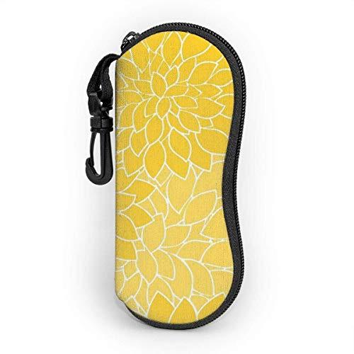 sherry-shop El estuche para gafas de pétalos de flores grandes de color amarillo mostaza protege y almacena gafas de sol, anteojos de lectura y la mayoría de las gafas