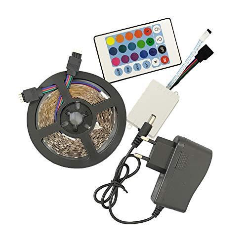 Pack Completo de 5m Tira LED RGB. Luces LED Colores con 54 Led/metro (18 cada color), Adaptador de Alimentación Y Control Remoto para 3 colores y modos intermitencia. A++