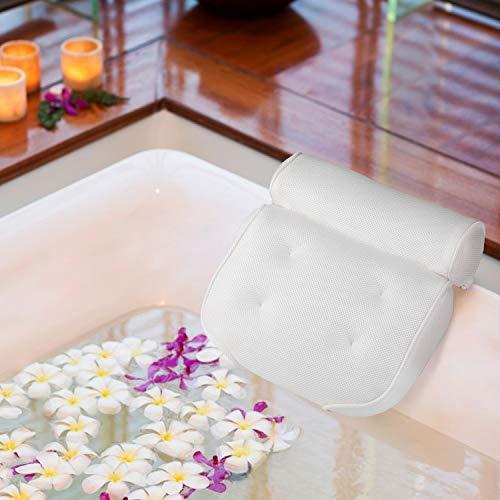 KATELUO Almohada de baño,Cojín para Bañera PU Almohada de Baño Que soporta Perfectamente la Cabeza, el Cuello, los Hombros y la Espalda y una cómoda Alfombra de baño.