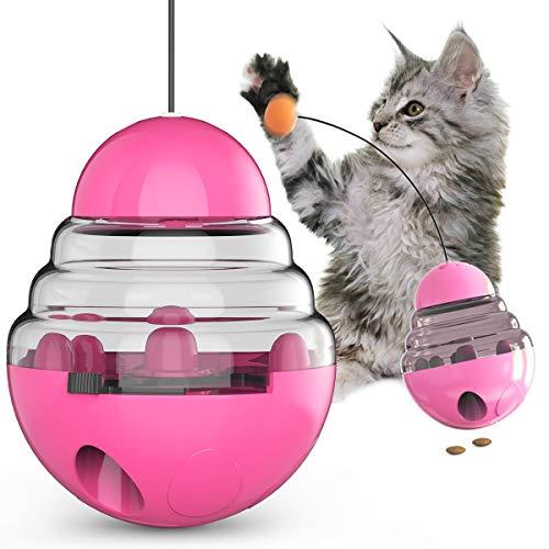 Katzentrommel Spielzeug Haustier Katzen Leckerlis Spender Interaktive Kätzchen Tumbler IQ Training Kleine Haustier Drehteller Futter Spender mit lustigem Stick zum Jagen Essen rosa