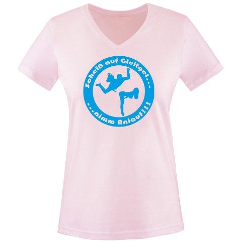 Scheiß auf Gleitgel. nimm Anlauf ! - Einfarbig - Damen V-Neck T-Shirt - Rosa/Blau Gr. XXL