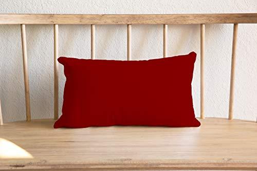 Almohada lumbar reversible de corteza roja y azul, tacto de lino, cama de doble cara, color granate, casa de campo, para casa o campo.