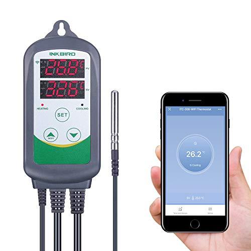 Inkbird ITC-308 WiFi Termostato Digital 220V, App Control Remoto la Temperatura Rango de Calentador y Enfriador para Acuarios, Cerveza Casera, Planta de Invernadero, Eclosión de Animales