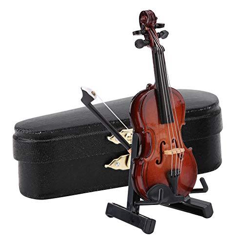 Yinuoday Holz Miniatur Geige Modell Mini Geige Instrumente Ornament mit Ständer Und Fall für Miniatur Puppenhaus Modell Home Office Desktop Vitrine Dekoration