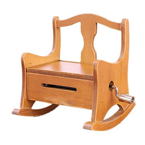 LLSS Rocking Chair Music Box Wooden Hand Paper Tape Music Box Christmas Valentine's Day Crafts Birthday Gift