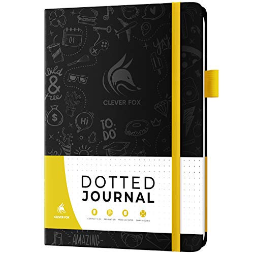 Clever Fox Dotted Journal 2.0 – Compact Planning and Sketching Dot Grid Notebook 120 GSM Thick, No-Bleed Paper – Planner with Pen Loop, Pocket, Ribbons, Stickers – A5 – Black