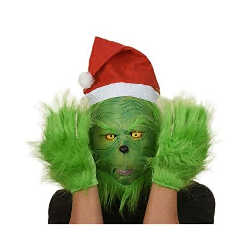 LoneFox El Traje de Grinch Santa máscara de Goma Guantes de